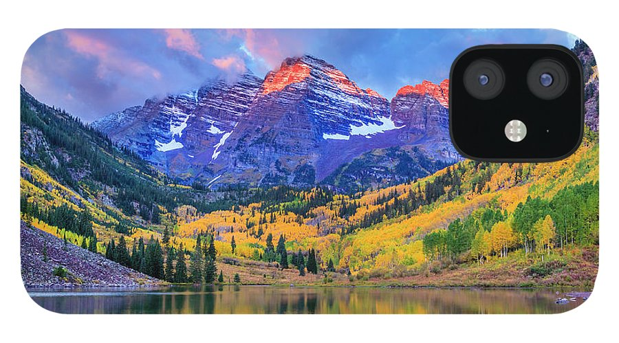 Scenics IPhone 12 Case featuring the photograph Autumn Colors At Maroon Bells And Lake by Dszc