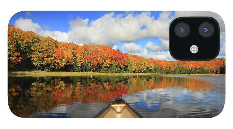Scenics IPhone 12 Case featuring the photograph Autumn In A Canoe by Photos By Michael Crowley