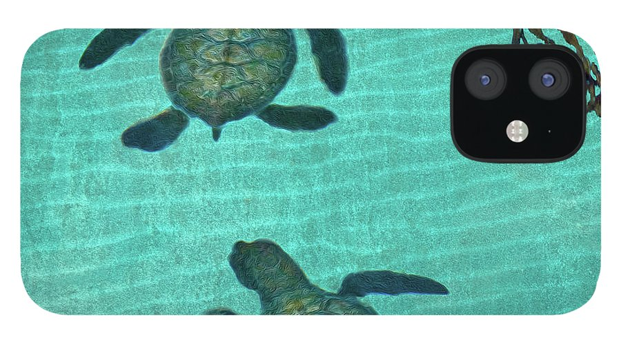 Seaweed IPhone 12 Case featuring the photograph Baby Sea Turtles by Melinda Moore