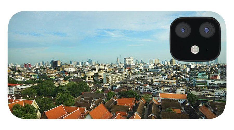 Tropical Tree IPhone 12 Case featuring the photograph Bangkok View With Temple Roofs 2 by Sndrk