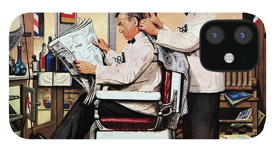 Barbers IPhone 12 Case featuring the drawing Barber Getting Haircut by Stevan Dohanos