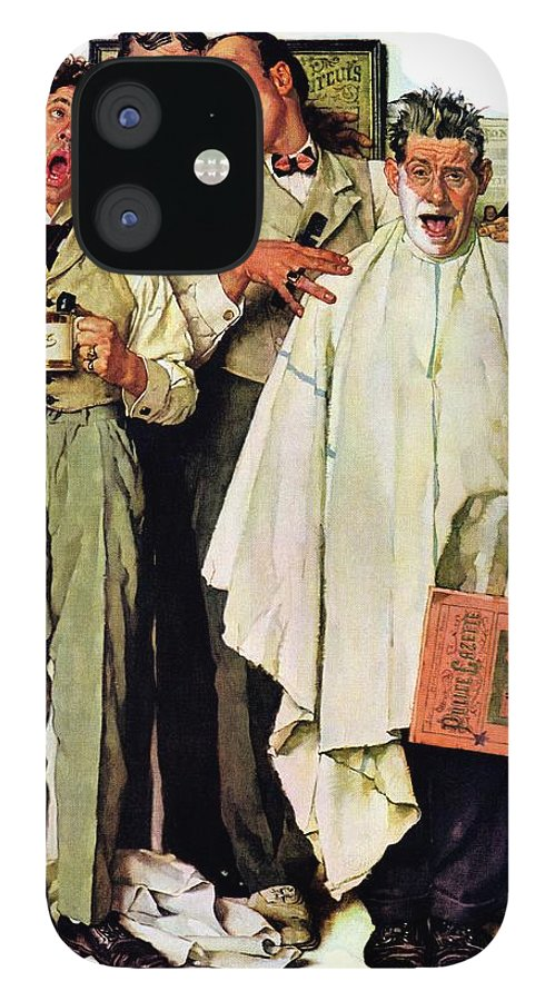 Barbers IPhone 12 Case featuring the drawing Barbershop Quartet by Norman Rockwell