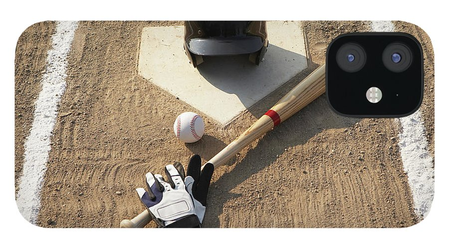 Shadow IPhone 12 Case featuring the photograph Baseball, Bat, Batting Gloves And by Thomas Northcut
