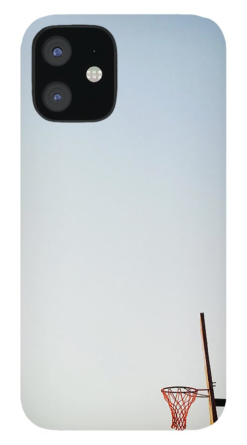 Clear Sky iPhone 12 Case featuring the photograph Basketball Net And Backboard Against by Shaun Egan