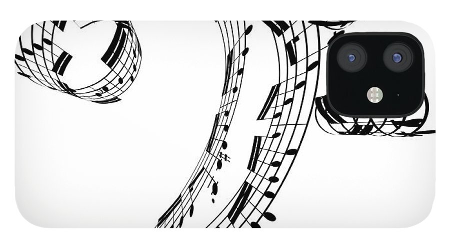 Sheet Music IPhone 12 Case featuring the digital art Bass Clef Made Of Music Notes by Ian Mckinnell