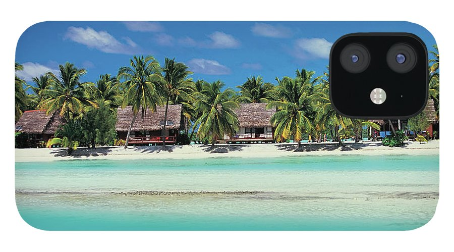 Water's Edge IPhone 12 Case featuring the photograph Beach Huts, Aitutaki, Cook Islands by Peter Adams