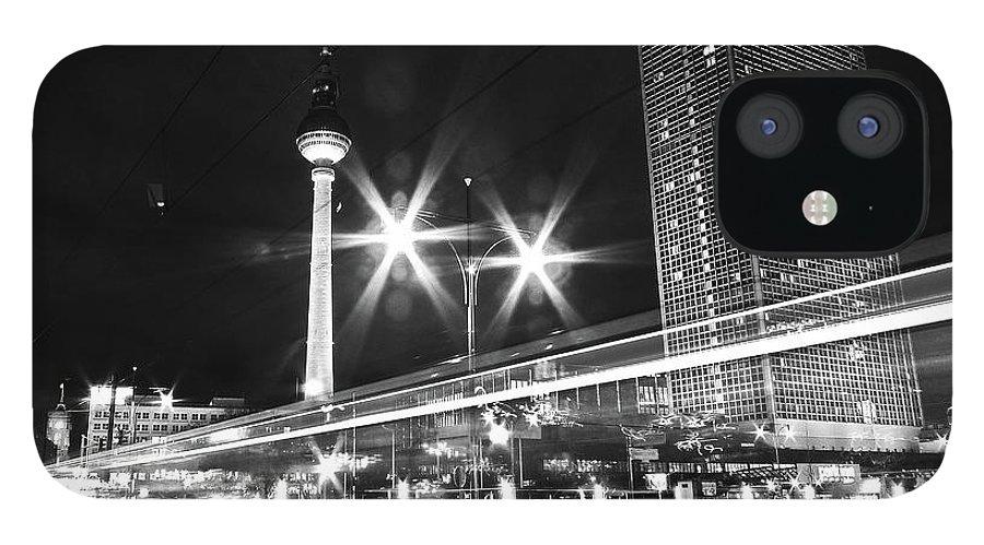 Alexanderplatz IPhone 12 Case featuring the photograph Berlin Alexanderplatz At Night by Bernd Schunack