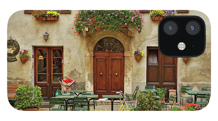 Pienza IPhone 12 Case featuring the photograph Bicycle In Front Of Small Cafe, Tuscany by Adam Jones