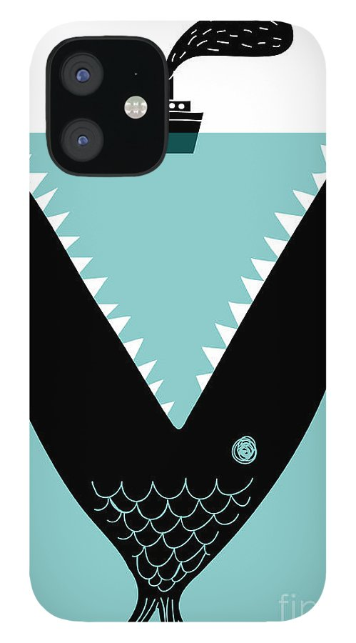 Big IPhone 12 Case featuring the digital art Big Fish Devouring A Ship by Complot