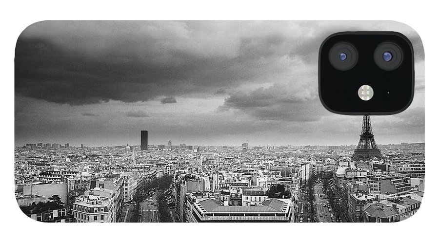 Black Color IPhone 12 Case featuring the photograph Black And White Aerial View Of An by Stockbyte