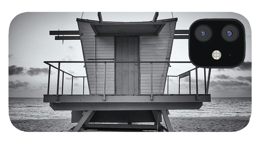Outdoors IPhone 12 Case featuring the photograph Black And White Lifeguard Stand In by Boogich