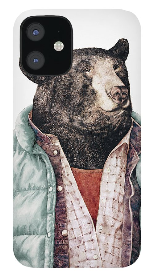 Black Bear IPhone 12 Case featuring the painting Black Bear Cyan by Animal Crew