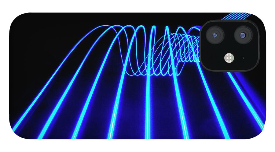 Laser IPhone 12 Case featuring the photograph Blue Abstract Coloured Lights Trails by John Rensten