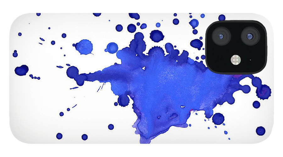 Art IPhone 12 Case featuring the photograph Blue Blobs On The Paper by Alenchi