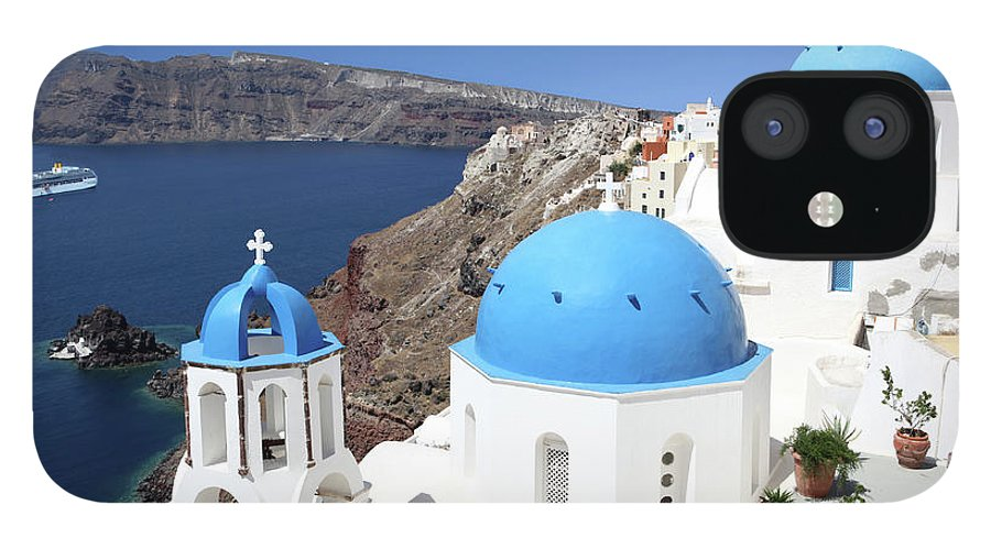 Greek Culture IPhone 12 Case featuring the photograph Blue Domes Of Santorini by Jurgar