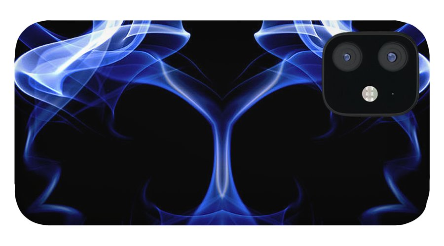 Art iPhone 12 Case featuring the digital art Blue Ghostly Headgear by David Crausby