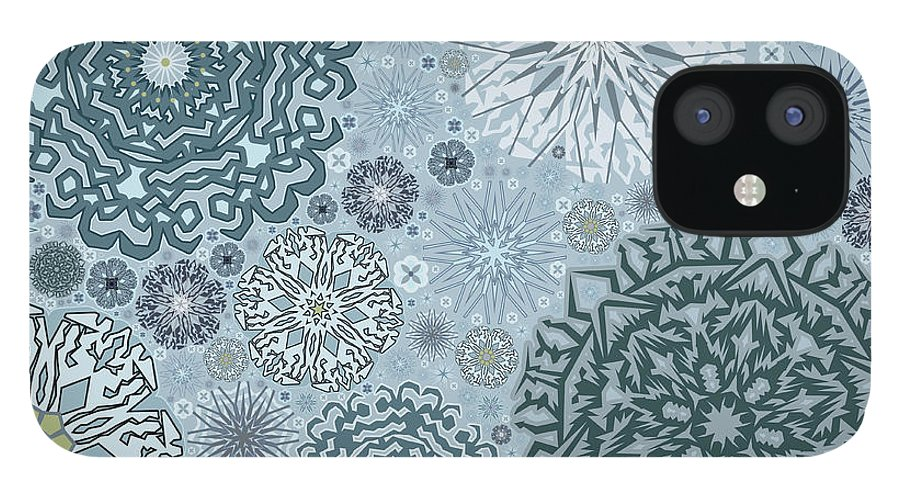 Art IPhone 12 Case featuring the digital art Blue Snowflake Pattern by Bodhi Hill