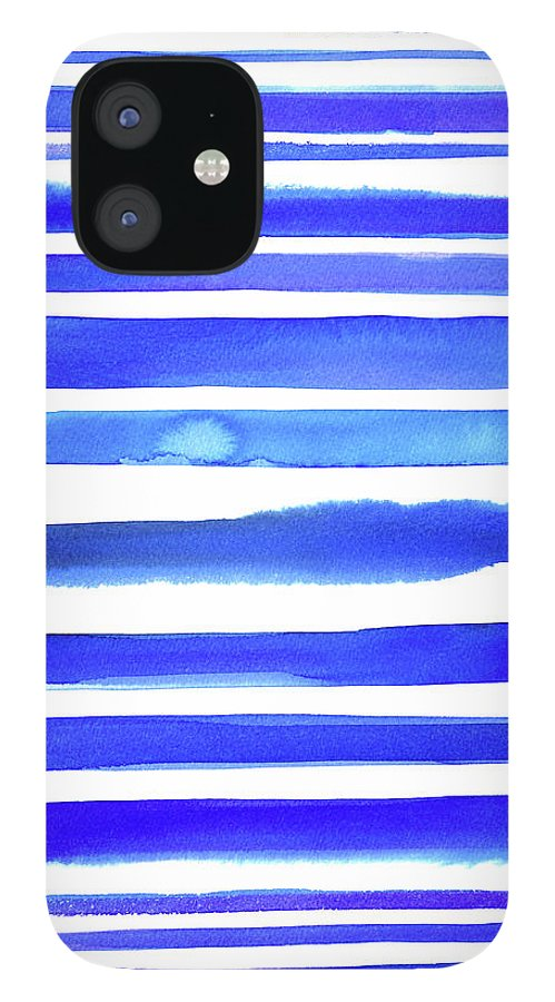 Art IPhone 12 Case featuring the digital art Blue Textured Stripes by Johnwoodcock