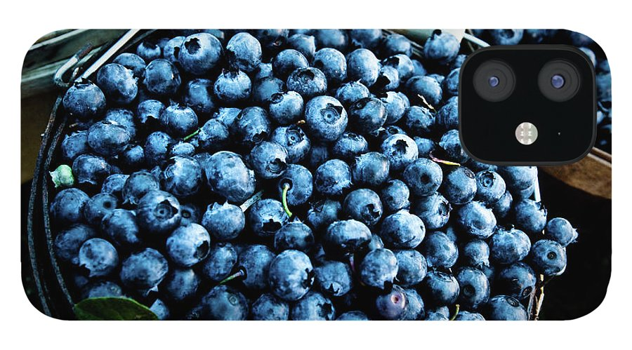 Heap IPhone 12 Case featuring the photograph Blueberries At Farmers Market by Richard Deming Photography