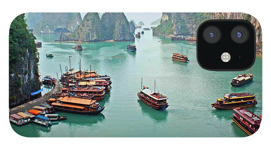 Tranquility IPhone 12 Case featuring the photograph Boats Of Halong Bay by Joe Regan