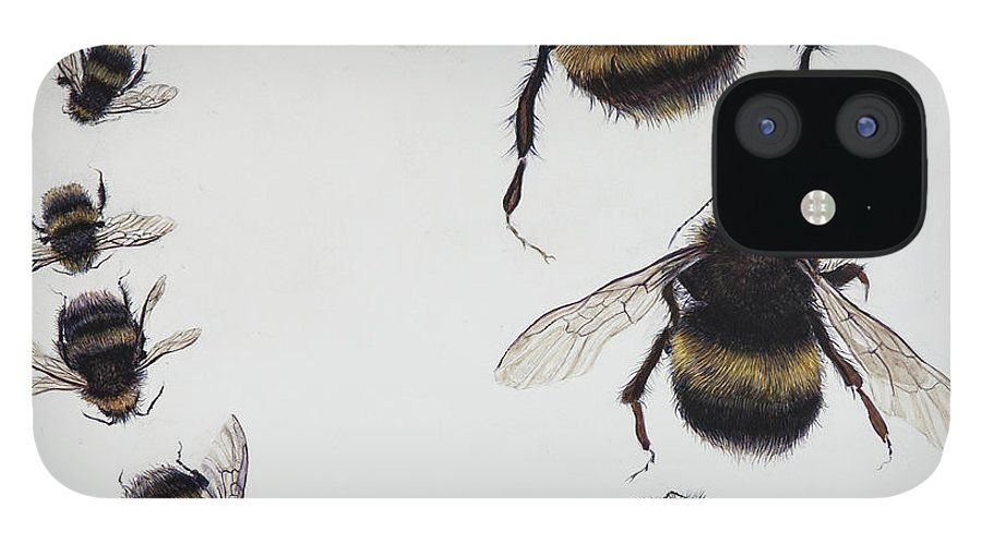 Nature IPhone 12 Case featuring the painting Bombus by Odile Kidd
