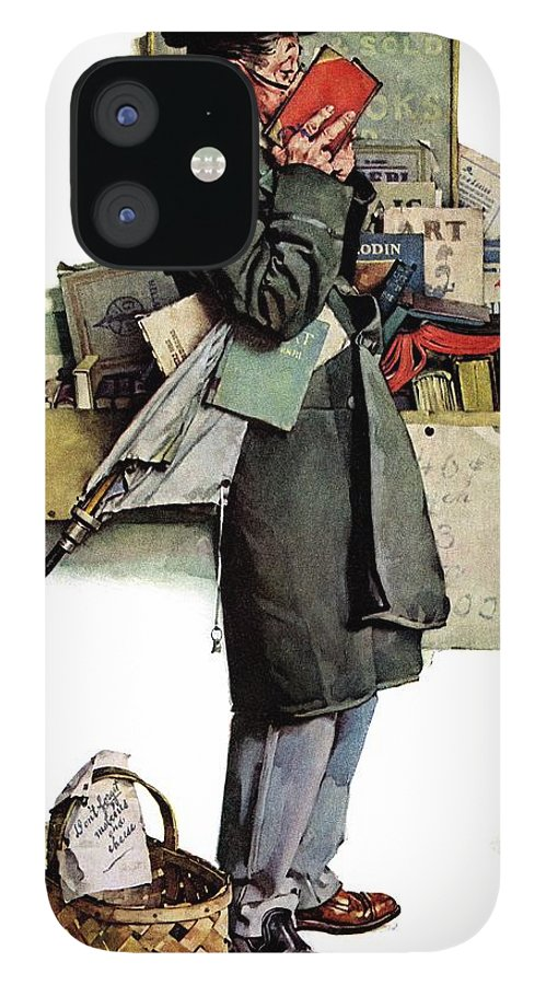Books IPhone 12 Case featuring the drawing Bookworm by Norman Rockwell