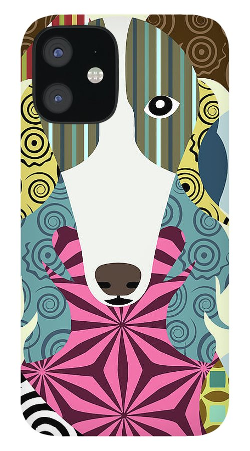 Borzoi Russian Wolfhound IPhone 12 Case featuring the digital art Borzoi Russian Wolfhound by Lanre Adefioye