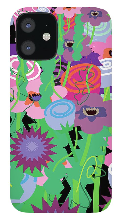 Black Background iPhone 12 Case featuring the digital art Bouquet Of Flowers by Charles Harker