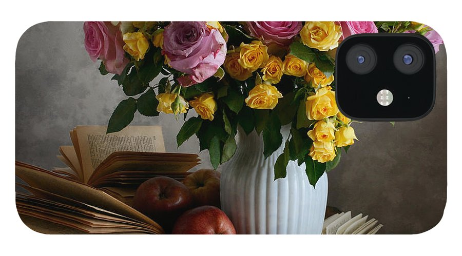 Vase iPhone 12 Case featuring the photograph Bouquet Of Flowers In White Vase by Nikolay Panov