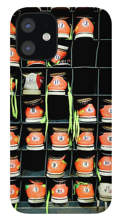 Orange Color IPhone 12 Case featuring the photograph Bowling Shoes by Christian Bird