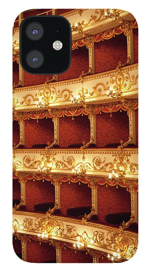 Event IPhone 12 Case featuring the photograph Boxes Of Italian Antique Theater by Naphtalina