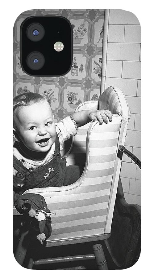 Child IPhone 12 Case featuring the photograph Boy 2-3 Sitting In High Chair, B&w by George Marks