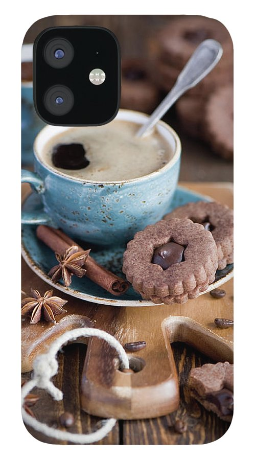 Breakfast IPhone 12 Case featuring the photograph Breakfast Coffee And Chocolate Cookies by Verdina Anna