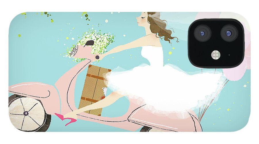 People IPhone 12 Case featuring the digital art Bride On Scooter by Eastnine Inc.