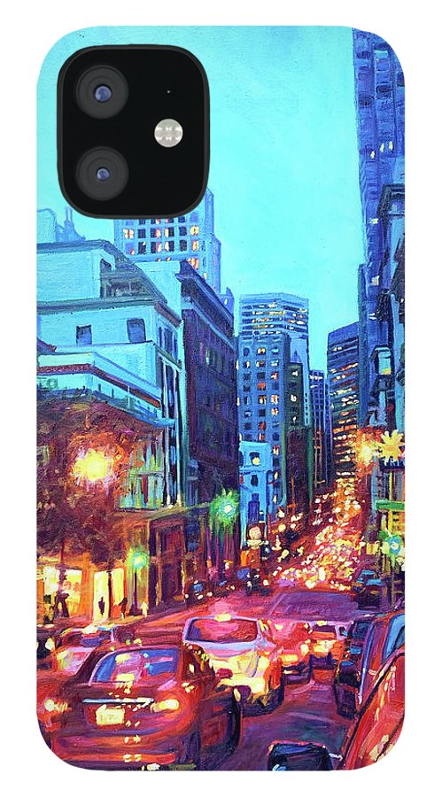 Cityscape IPhone 12 Case featuring the painting Bright Lights, Big City by Bonnie Lambert