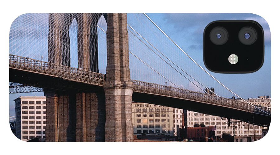 Built Structure iPhone 12 Case featuring the photograph Brooklyn Bridge by Dick Luria