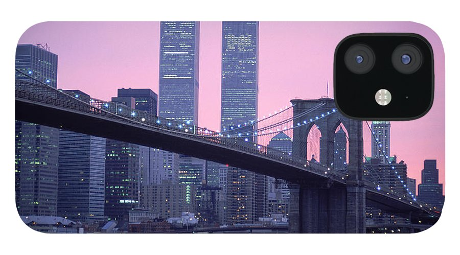Dawn IPhone 12 Case featuring the photograph Brooklyn Bridge, Twin Towers, Nyc, Ny by Barry Winiker
