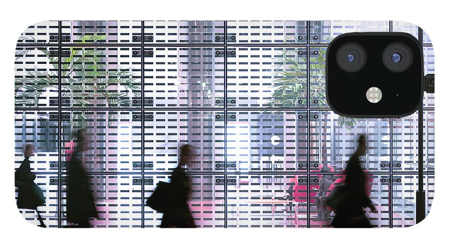 People IPhone 12 Case featuring the photograph Business People Passing Modern Office by Eschcollection