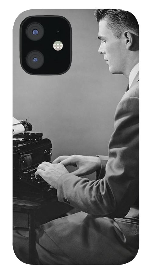 Three Quarter Length iPhone 12 Case featuring the photograph Businessman Inside Office Typing by George Marks