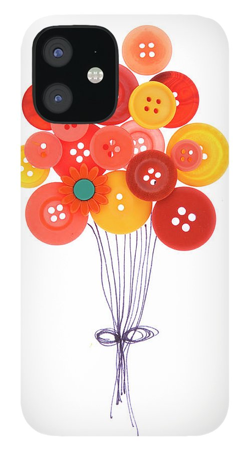 Brampton IPhone 12 Case featuring the photograph Buttons As Balloons by Lisa Stokes