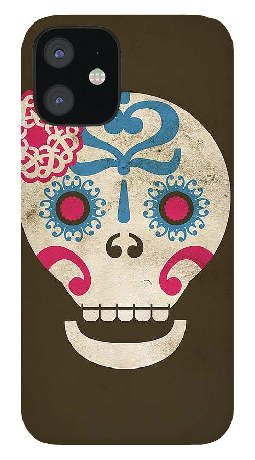 Animal Skull IPhone 12 Case featuring the digital art Calaca by Marco Recuero