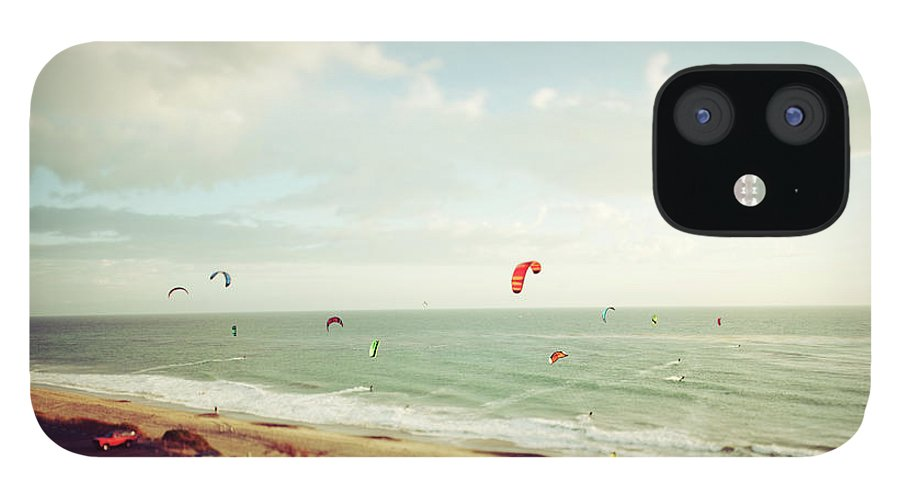 California iPhone 12 Case featuring the photograph California Tilt Shifted Kite Surfers by Kevinruss