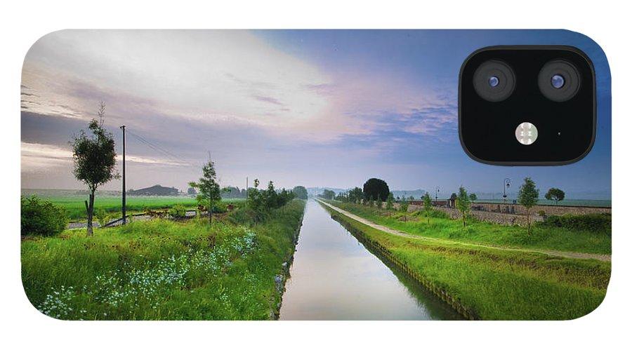 Scenics IPhone 12 Case featuring the photograph Canal De Lourcq - Precy Sur Marne - by © Nicolas Gaire