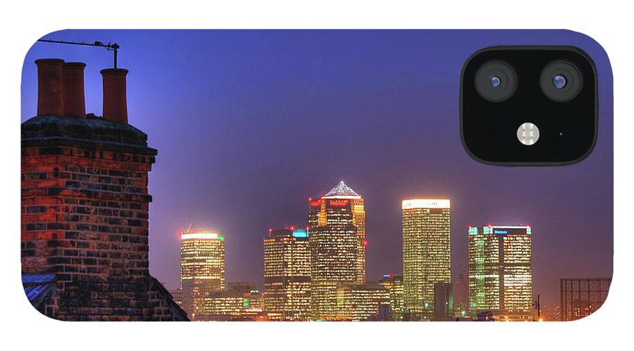 Clear Sky IPhone 12 Case featuring the photograph Canary Wharf by Andy Linden