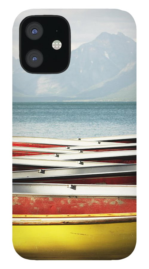 Scenics IPhone 12 Case featuring the photograph Canoe Rowboat Dinghy Dock Summer Camp by Chuckschugphotography