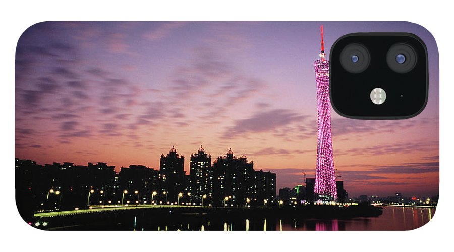 Built Structure IPhone 12 Case featuring the photograph Canton Tv Tower In Sunset Glow by Jimmy Tsang