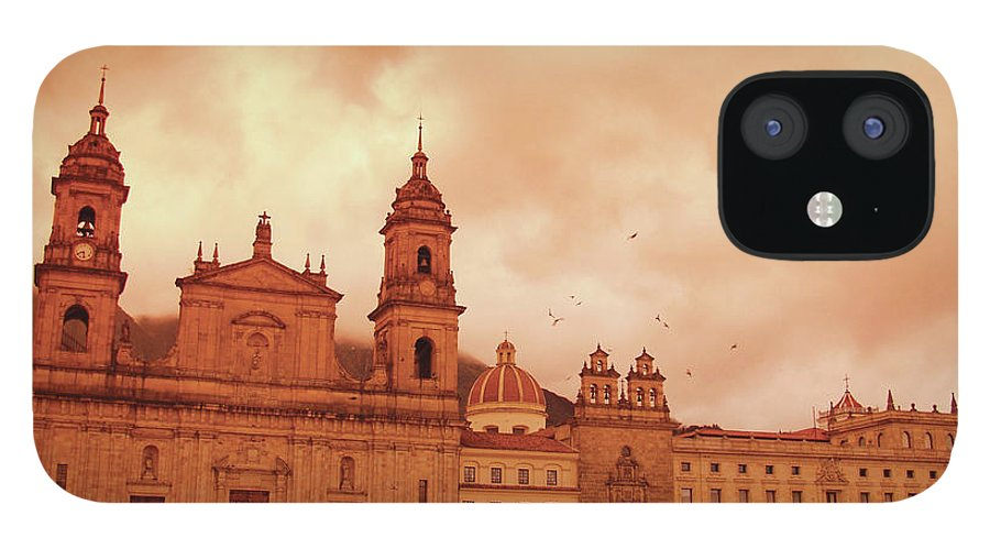Clock Tower IPhone 12 Case featuring the photograph Cathedral In Bogota, Colombia, South by Medioimages/photodisc