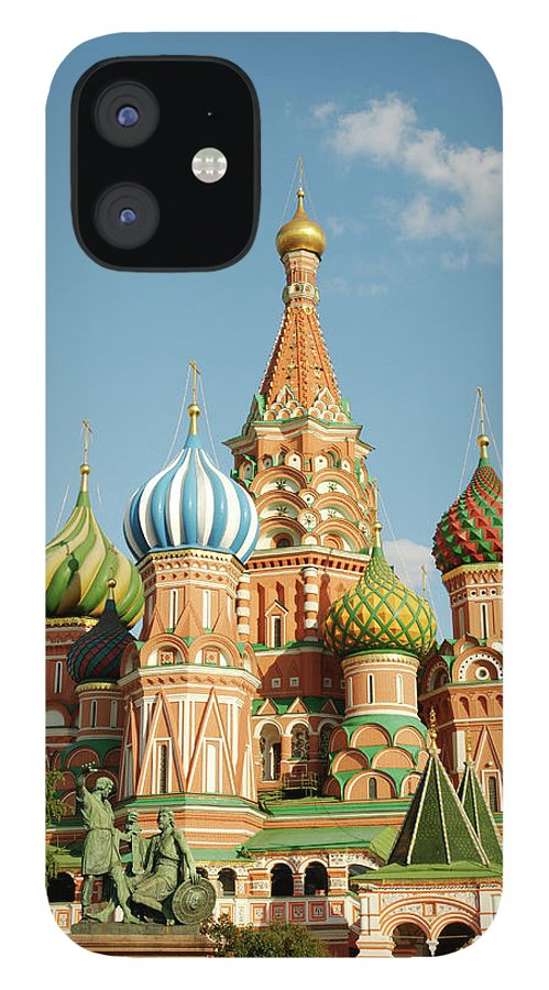Statue iPhone 12 Case featuring the photograph Cathedral Of Saint Basil The Blessed In by Travelif