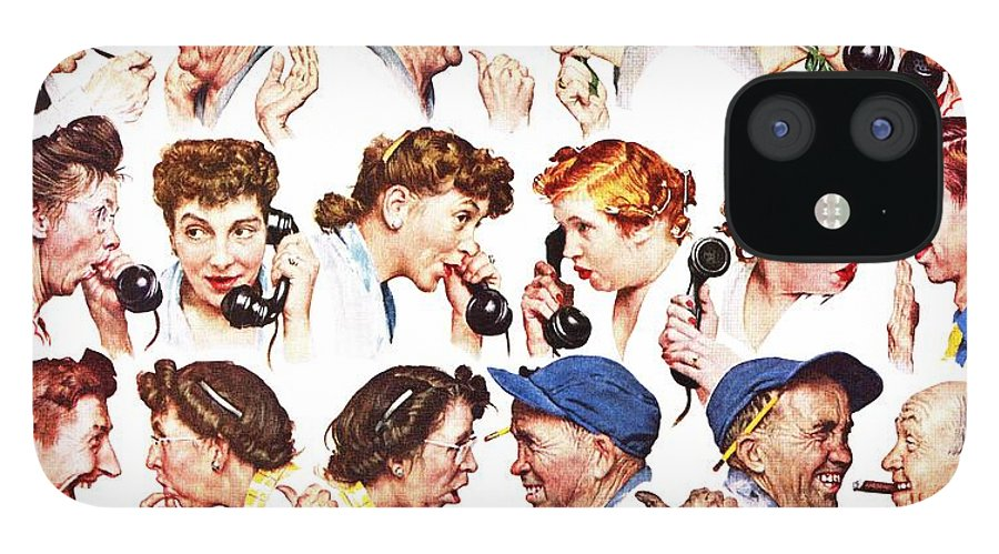 Gossiping IPhone 12 Case featuring the drawing Chain Of Gossip by Norman Rockwell