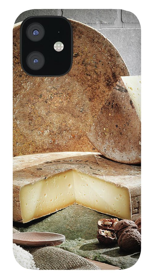 Fontina IPhone 12 Case featuring the photograph Cheese, Fruit And Grains On Table by Walter Zerla